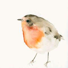 Bird Art Print from Original Watercolor Little от dearpumpernickel