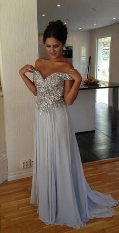 Gray Prom Dresses,Silver Grey Prom Dress,Sexy Prom Dress,Sequined Prom Dresses, Formal Gown,Chiffon Evening Gowns,A Line Party Dress,Sequin Prom Gown For Teens
