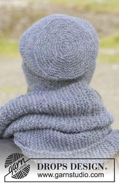 Stickad DROPS mössa och halsduk i Air eller Brushed Alpaca Silk eller 2 trådar Alpaca med rätstickning och tappade maskor.