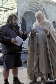 "Peter Jackson &  Ian McKellen on the set of ""The Lord of the Rings: The Return of the King"" (2003)"