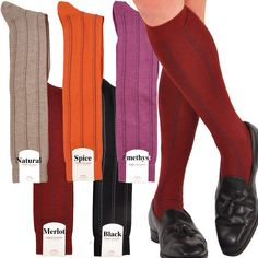 56a5436f2e96c Cashmere & Silk Sophisticated Pinstripe Over-the-Calf Socks - Exclusive