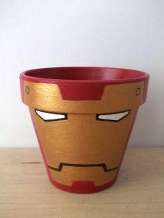Iron Man Avengers Marvel Superhero Painted Flower Pot. $16.00, via Etsy. not for flowers