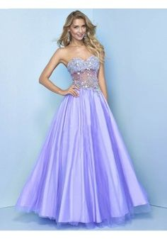 A-line Sweetheart Sleeveless Tulle Prom Dresses With Beaded #FP065