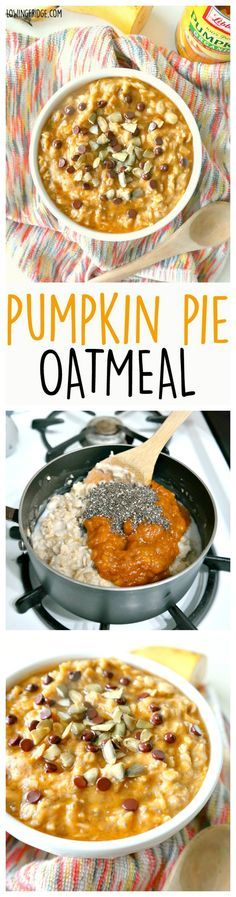 Healthy vegan 'Pumpkin Pie Oatmeal' - Warming, comforting, and lusciously creamy, this bowl of pumpkin goodness will get you feeling good and keep you full until lunch - The Glowing Fridge. Pumpkin Pie Oatmeal, Vegan Pumpkin Pie, Pumpkin Recipes, Fall Recipes, Whole Food Recipes, Cooking Recipes, Healthy Pumpkin, Vegan Oatmeal, Pumpkin Pumpkin