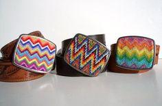 NEW  Needlepoint Sharp Colorful Zig Zags Belt Buckle by NeedleYou, $40.00