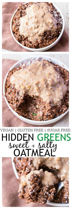 Hidden Greens {Sweet + Salty} Chocolate Oatmeal- Start your morning with two servings of vegetables under your belt with this hidden greens chocolate oatmeal! This delicious, chocolate oatmeal has two veggies hidden in it which cannot be tasted- High in protein, sugar free, vegan and gluten free- It's like dessert for breakfast! @thebigmansworld -thebigmansworld.com