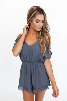 Charcoal Cold Shoulder Ruffle Romper - Dottie Couture Boutique