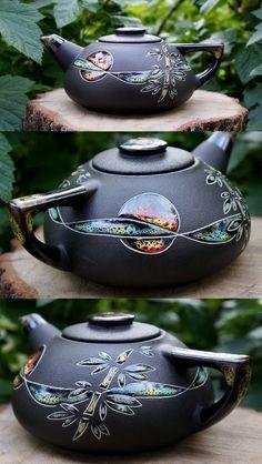 Black stoneware teapot ceramic river decor bamboo leaf sunrise pottery gift christmas gift for women gift for home pottery teapot colorful Pottery Teapots, Ceramic Teapots, Mccoy Pottery, Pottery Vase, Ceramic Pottery, Ceramic Art, Rookwood Pottery, Roseville Pottery, Tee Set