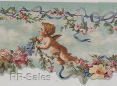 Cherubs Garden Angels Scalloped Edge Victorian Flower Rose Wallpaper Wall Border