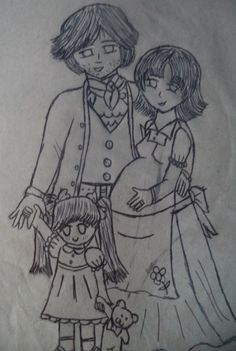 Jervaise — Jonh —, Néria, e a pequena Angeline