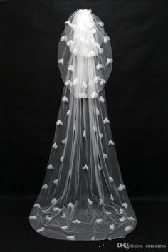 Hot Selling Floor Length Bridal Veils White Lace Wedding Veils With Pears Ivory Three Layer Bridal Veils Handmade Flowers 721 Online with $62.83/Piece on Caradress's Store | DHgate.com