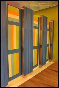 colorful bathroom doors