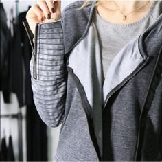 Moto Comfy Grey Jacket ◽️Love love love this best selling jacket! The look of a moto jacket in a soft sweatshirt material. Interior is fleece and feels soo nice ☁️Lightweight with raw edges. Love the sleeves. I'm obsessed. Very Alexander Wang. 60% cotton 40% polyester. Size S, M, L. New with tag. Price firm unless bundling. Boutique Jackets & Coats