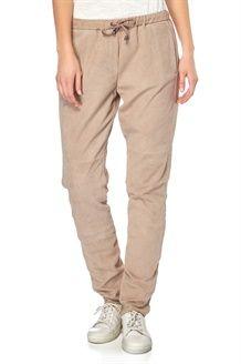 Pantaloni in Crosta di Pelle di Capra Maurine - Fango