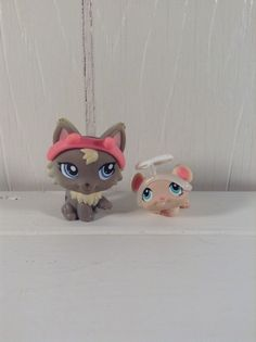 Littlest Pet Shop 1411 devil gray wolf cat 1412 angel mouse set accessories blue #Hasbro