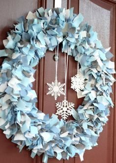 January Wreath - maybe light blue/gray/silver for my danger-red door?