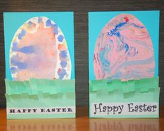 Shaving cream & watercolor: Easter-Egg-in-the-Grass Cards - In Lieu of Preschool