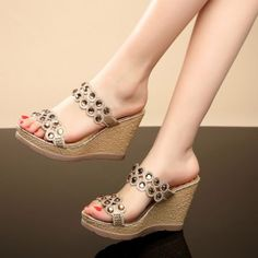 Women's Fashion Open Toe Rhinestone Platform Wedge Heels BOHO Sandals Shoes Size