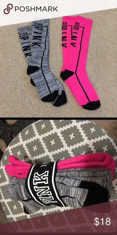 VS PINK Knee High Socks New  Just no longer have these in a package bc i wanted to see what they looked like :) Tried on the grey pair but didnt like on me PINK Victoria's Secret Other