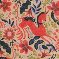 Les Fleurs by Rifle Paper Co - Folk Horse Coral Cotton Canvas Natural