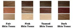 Fair/Pale- Use dark expresso browns, warm reds, medium blondes. Avoid extremes and too dark of colors which will wash you out Pink/Red- Neutral tones are best - avoid cool reds
