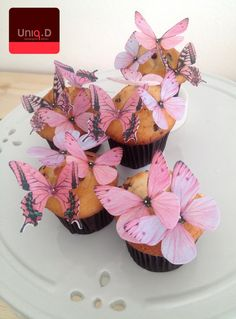 new 38 pink edible butterflies  butterfly decoration  by uniqdots