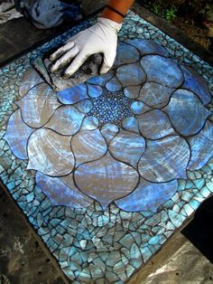 grouting mosaics | Here you can the mosaic in the grouting process - my favorite part! More
