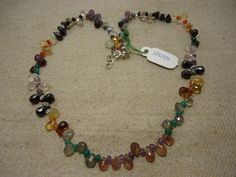 "Natural Multi Stone Multi Shape Faceted 17"" Beads Fancy Necklace, 126.5 Cts…"