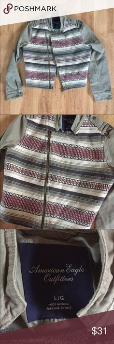 American Eagle Stitched Zip-Up Jacket Size L ⚜️I love receiving offers through the offer button!⚜️ Good condition, as seen in pictures! Fast same or next day shipping!📨 Open to offers but I don't negotiate in the comments so please use the offer button😊 American Eagle Outfitters Jackets & Coats