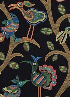 "Crazy Ol Bird Midnight - Decorator conversational tapestry fabric. Multi purpose 30,000 DB. 27"" repeat. 59% RAYON, 41% POLYESTER. 58"" wide. Swavelle/Mill Creek/TFA fabric."
