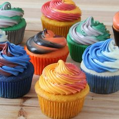 Use food color to create cupcake batter and frosting in your school colors. The perfect dessert for graduation parties!