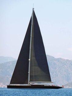 Modern Black Sail Boat //