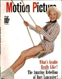 Betty Grable on the cover of Motion Picture magazine, August 1950, USA.