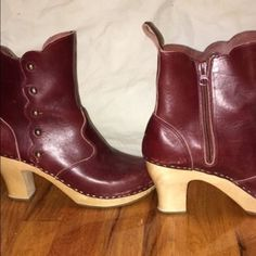 Swedish Hasbeen Clogs Size 39, wine coloured Hasbeens. Heel is about 2.5 inches. Beautiful gold stud details Swedish Hasbeens Shoes Ankle Boots & Booties