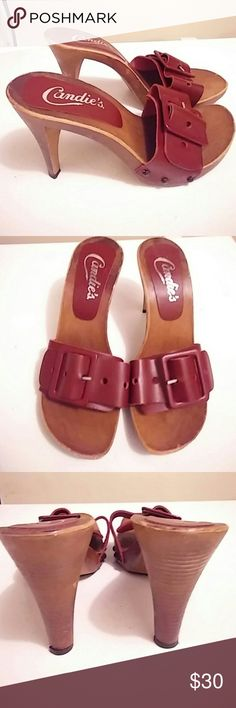 Candies  mules.  Size 8(38) Made in  Italy.  Good condition. Leather upper. Color is  burgundy Candies  Shoes Mules & Clogs