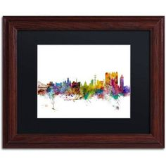 Trademark Fine Art Calcutta India Skyline Canvas Art by Michael Tompsett Black Matte, Wood Frame, Size: 16 x 20, Multicolor