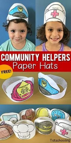 Helpers Printable Paper Hats FREE printable Paper Hats that kids can color and wear when learning about community helpers, occupations, or when doing dramatic and pretend play. Great for preschool and kindergarten! Preschool Themes, Preschool Classroom, Preschool Learning, Preschool Activities, Space Activities, Free Printables For Preschool, Toddler Preschool, Preschool Helper Chart, Sunday Activities
