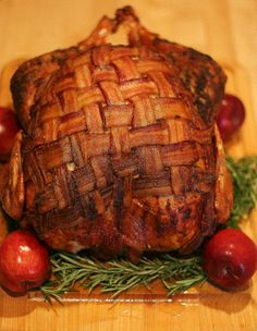 Recipe: Bacon-Blanketed, Herb Roasted Turkey....Oh My! | http://blog.makezine.com/craft/recipe_bacon_blanketed_herb_ro/
