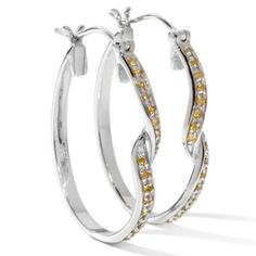 HSN Victoria Wieck Sterling Canary Colored Diamond Twisted Hoop Earrings $650