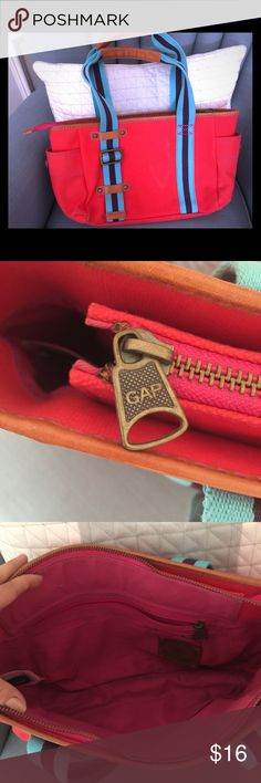 Casual GAP bag Bright red and blue outside with pink lining. Roomier than you expect! GAP Bags Totes