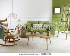 natural wood furniture green wall decor, modern lamp