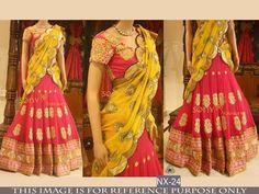 Pink & Yellow Georgette Bollywood Lehenga Choli Fashion ,Indian Dresses