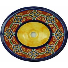 Ole! This hand-painted sink evokes the traditional patterns and colors of Mexico and the southwest. This is a durable oval sink that will be long-lasting in you