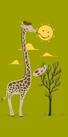 'Painting Smiley' Funny Cartoon Giraffe Artist Painter & Sun Smiling - Plywood Wood Print Poster Wall Art