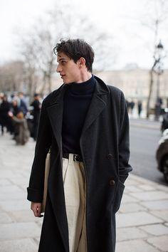 Classic Monochromatic Overcoat + Turtleneck