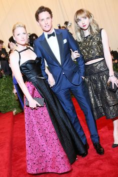 Mamie Gummer with Eddie Redmayne in Burberry and Zoe Kazan at the Met Gala [Photo by Evan Falk]