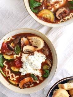 Slow Cooker Vegetarian Lasagna Soup foodiecrush.com