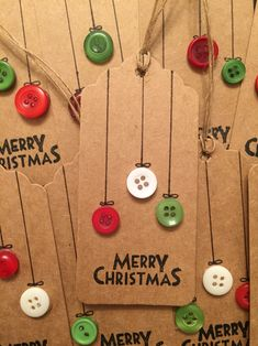 Christmas | gift tags | button craft | East of India stamp | baubles | brown…