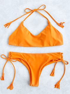 6985c221df309 Orange Halter Side Tie Tassel Bikini Set Bikini Sexy