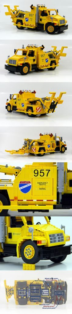 Tow truck - I based the MOC on International 4400 tow trucks serving highways in Illinois. - Total: 5 M motors, 1 XL motor, 3 IR receivers, one 88000 battery box. #LEGO #truck